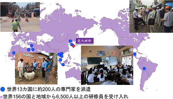 世界13ヵ国に約200人の専門家を派遣。世界156の国と地域から6,500人以上の研修員を受け入れ。
